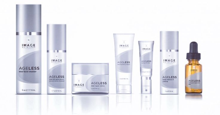 Image Skincare Ageless containing glycolic and retinol to minimise fine lines and wrinkles.  Ageless Cleanser, Total Retinol Creme, Ageless Total Repair Creme, Ageless Total Eye Repair