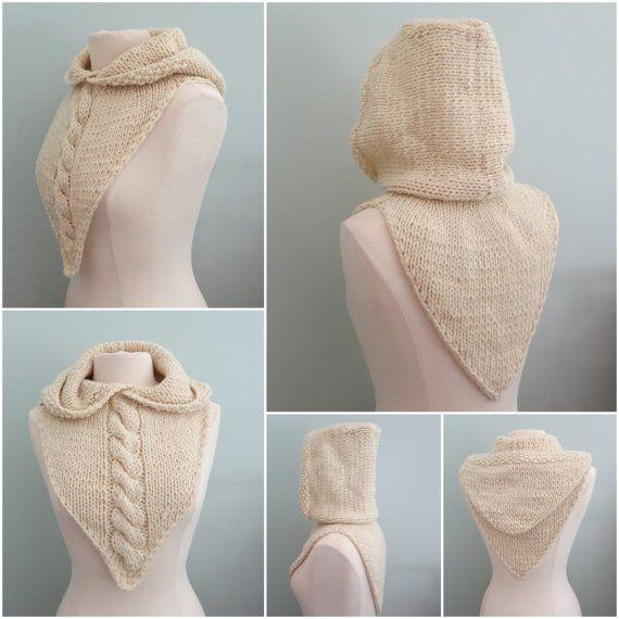 Hoodie Knitting Pattern, Hood and Cowl, Bandana Cowl, Hat, Hoodie