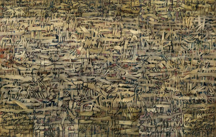 Pierre Alechinsky (Belgian, b. 1927), La Fourmilière [The Ant Hill], 1954. Oil on canvas, 151.1 x 238.4 cm. source