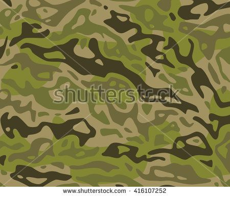 Original vector realistic camouflage pattern background editable pattern large size. Rain Forest camouflage forest woodland green - stock vector