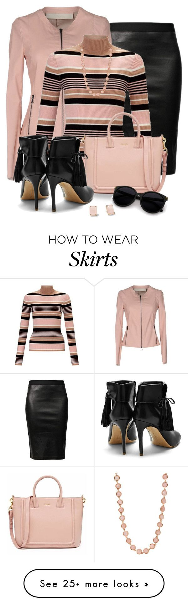 """Leather Jacket and Skirt"" by snickersmother on Polyvore featuring Helmut Lang, Drome, Miss Selfridge, Rupert Sanderson, Kate Spade and Irene Neuwirth"