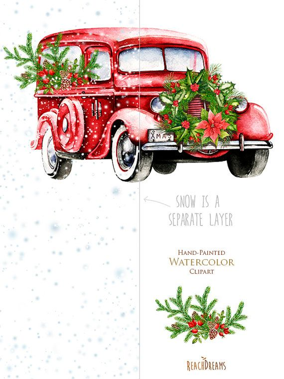 Watercolor Christmas Truck Red Retro Car Vintage By ReachDreams