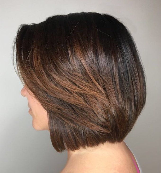 Blunt Espresso Bob With Highlights Hair Styles Thick Hair Styles Rebonded Hair