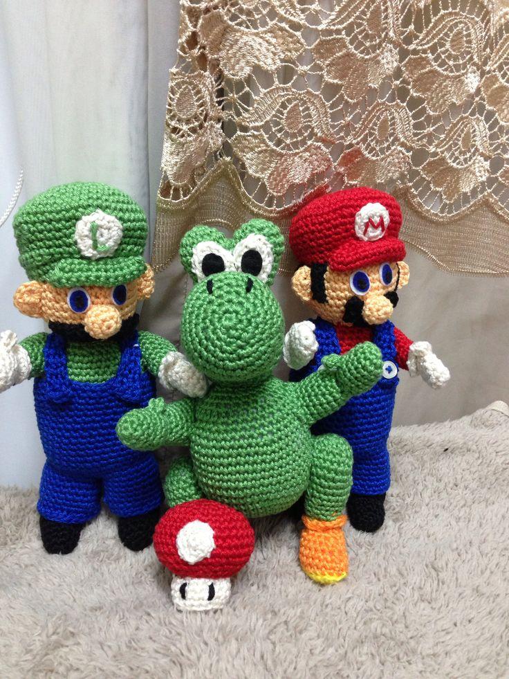 Mario Bros Luigi, yoshi y un hongo tejidos a crochet ...