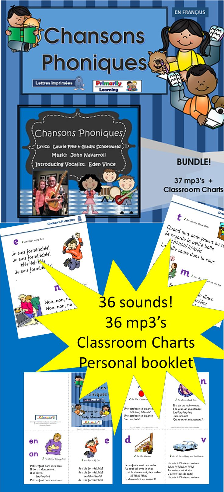$ Learn the 36 basic sounds of the French language as you sing along with Eden Vince!  Read  the classroom charts an 1/4 booklets to see the sounds in print.  Have fun learning! (Available in Print Letters or Sassoon Infant Font)