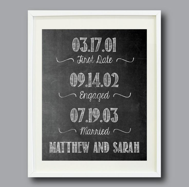 Important Dates Chalkboard Art Print First Date Engagement Wedding Day Bride And