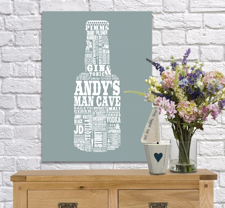 Personalised Beer Bottle Man Cave word art. Fantastic birthday gift! www.monkeyofthenorth.co.uk
