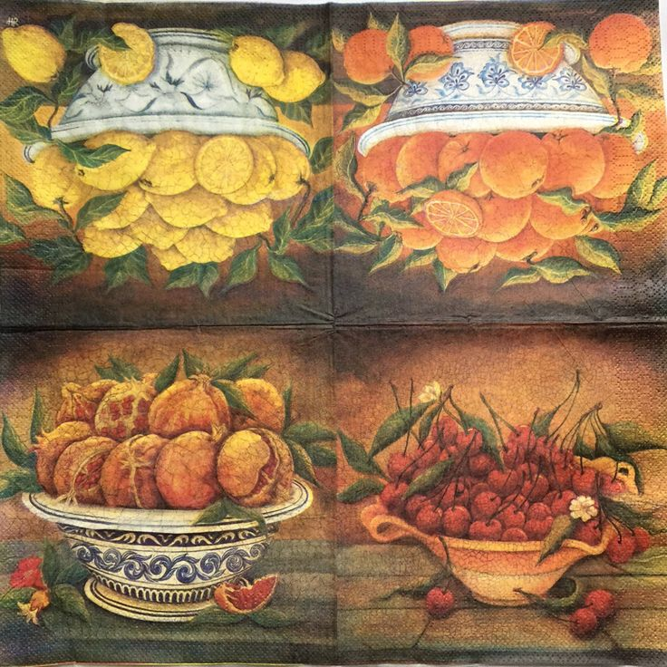 Set of 2(two)napkins Art Still life&Fruit crackle  for decoupage,decoupage under glass ,mixed media,scrapbooking and other art and crafts door Dalilasdecoupage op Etsy