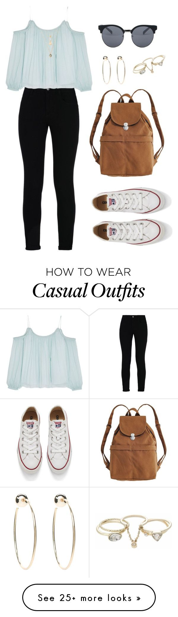 """""""Casual"""" by aowens99 on Polyvore featuring STELLA McCARTNEY, Elizabeth and James, BAGGU, Converse, Quay, Lipsy and Bebe"""