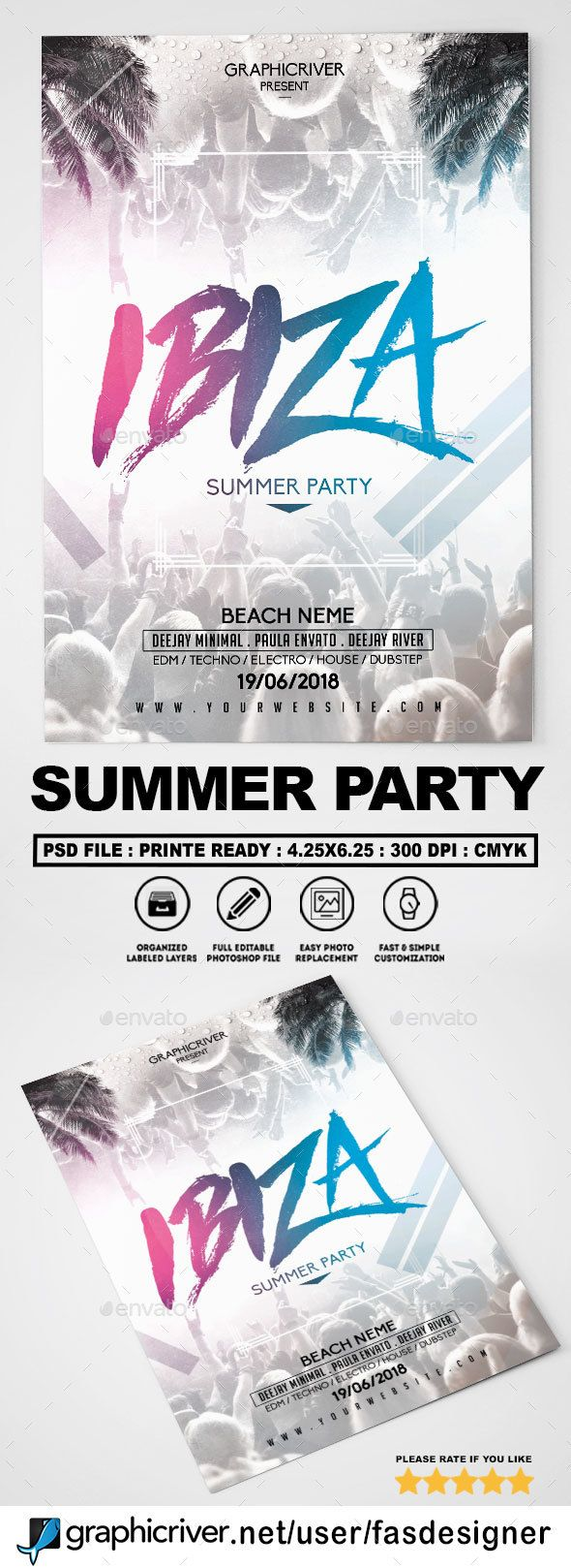 Summer Party Flyer #spring #flyer  • Download here → https://graphicriver.net/item/summer-party-flyer/20757261?ref=pxcr