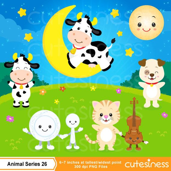 Hey Diddle Diddle Clipart  Cow Clipart Nursery by Cutesiness