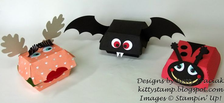 Kitty Stamp: Hamburger Box Critters - Set Three - details and materials lists in the post - Stampin' Up!