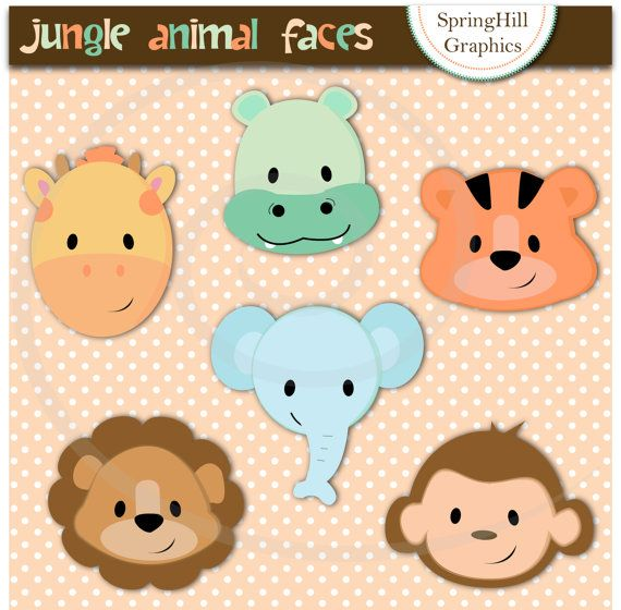 Instant Download Jungle Animal Faces Digital Clip Art for Card Making, Web Design, Scrapbooking - Personal and Commercial use