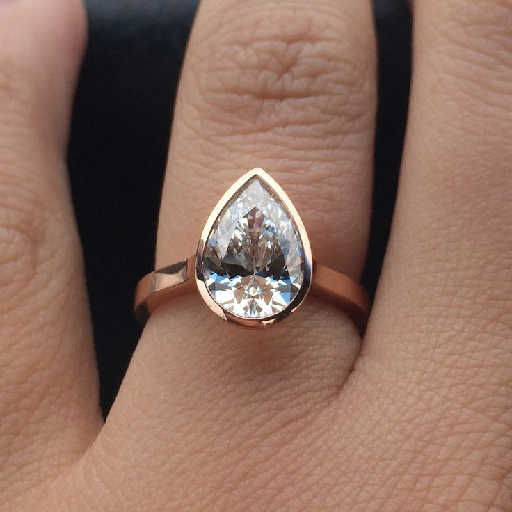 The Perfect Rose Gold Pear Shaped Diamond Bezel Engagement Ring