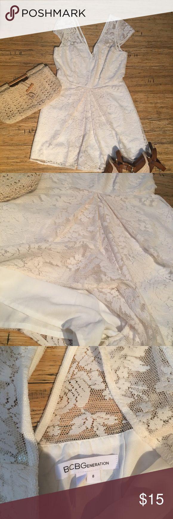 BCBG Cream lace romper Cream lace over light cream liner romper with rear zipper. BCBGeneration Shorts