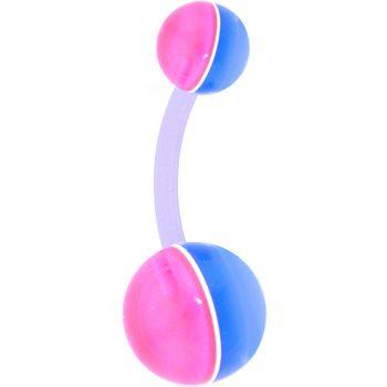BIOPLAST Light Blue Pink STREAK Belly Ring | Body Candy Body Jewelry