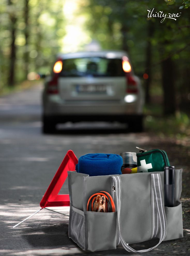 Put your car emergency kit in order with an Organizing Utility Tote. It keeps things from sliding around in the trunk, and transfers easily from car to car.
