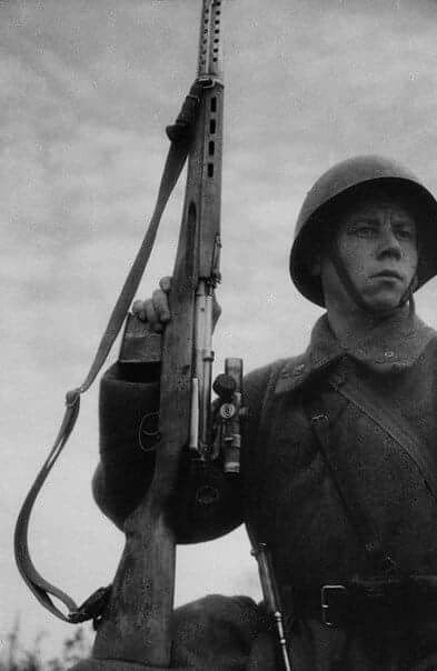 Red Army soldier with SVT 40 semi automatic rifle.