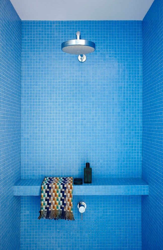 Shower Caddies Bathroom Modern with Bench Blue Colorful Mosaic Tile Rain Shower Shower Ledge Shower Stall Woven