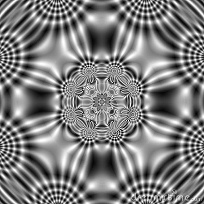 Decorative  black and white electric field background pattern with wavy shapes.