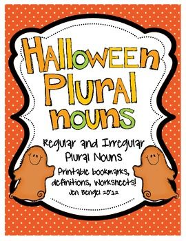 Teach regular and irregular plural nouns (a Common Core State Standard for grades 3 and up) with this fun Halloween-themed resource.  Included are printable cover pages, bookmarks for students to complete, and practice worksheets.  There are also suggestions for how to incorporate this grammar skill into independent reading and writing!