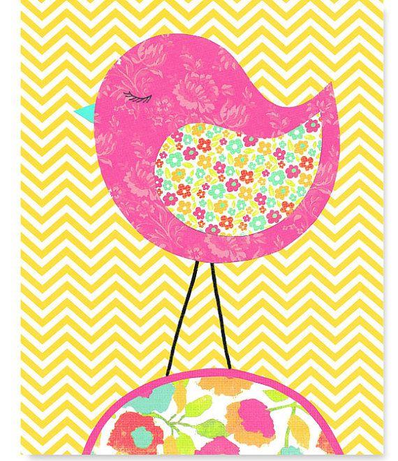 Aqua Fuchsia Yellow Bird Nursery Decor Chevron Girl's Room Wall Art Baby Decor Bedroom Pink Toddler Children Kids 8 x 10 or 11 x 14 print