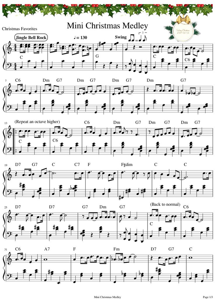 Mini Christmas Medley Sheet music for Piano Download