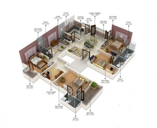 Four Bedroom Townhomes 50 best 4 bedroom apartment/house plans images on pinterest