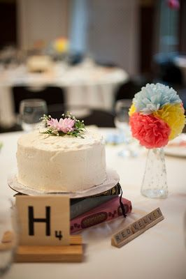 Cake on every table as a centerpiece AND dessert - keep event budget in tact by using dessert as centerpiece = two for one concept