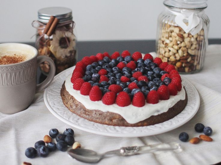 Dietary bird cherry cake with cottage cheese and coconut cream low carbs low calories  food photo