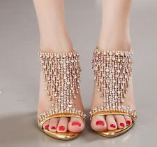 Womens Rhinestone Sandals Ankle St...