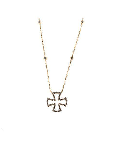 Κολιέ με Διαμάντια Χρυσό 18Κ σε Ροζ Χρώμα Αναφορά 016845 Κολιέ-σταυρός κατασκευασμένο από Χρυσό 18Κ σε ροζ χρώμα.Οι πέτρες που διακοσμούν τον σταυρό είναι πολύτιμες (μπριγιάν) σε χρώμα μαύρο.