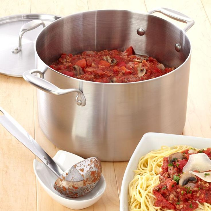 Savory Spaghetti Sauce Recipe from our friends at American Kitchen.  Italian-inspired recipe for those who like meaty, savory sauces. Find it on the Recipes & Tips tab. #spaghetti #recipe