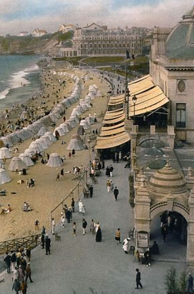 Biarritz beach, France, 1927. Travelogues by Burton Holmes