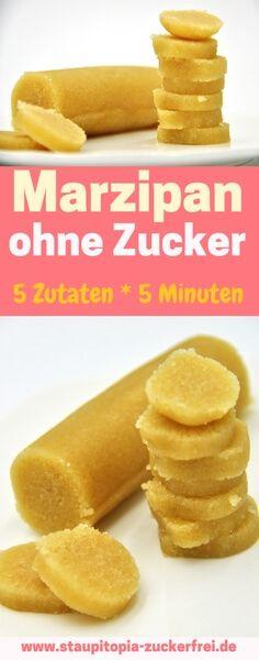 Einfach und schnell: Mit 5 Zutaten in 5 Minuten zum selbstgemachten Marzipan ohne Zucker (mit Erythrit und Mandeln).