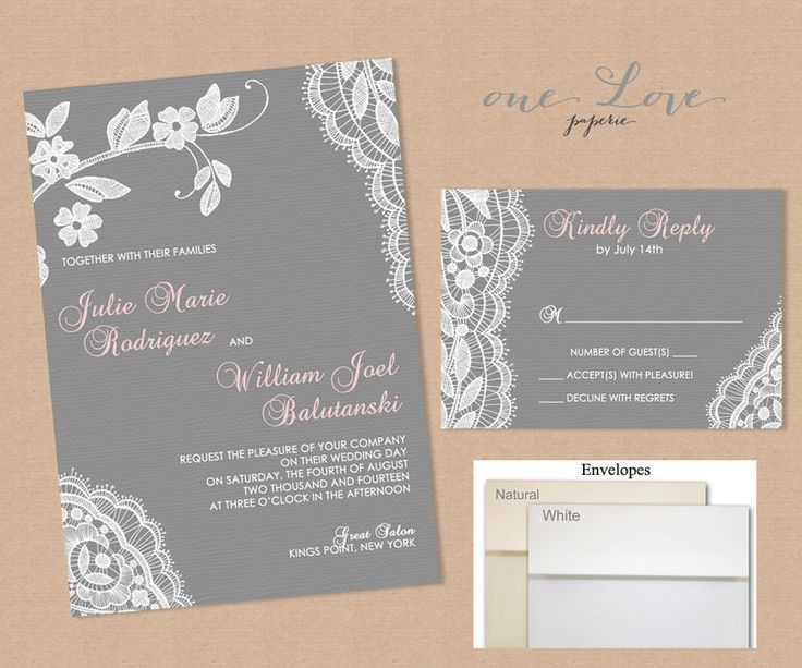 White Lace Wedding Invitation Gray By Onelovepaperie