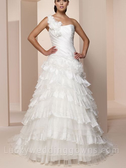 One-shoulder Organza Wedding Dress with Lace-up Back