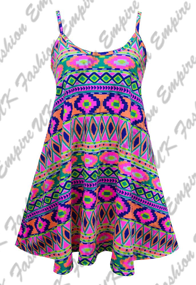 New Women Neon Colourful Aztec Cami Skater Strappy Top Swing Mini Dress 8-24 UK