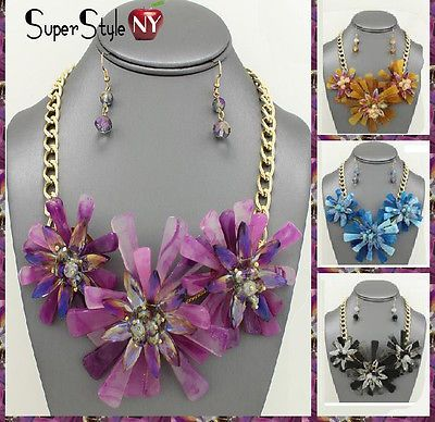 Chunky Sun Flower Beaded Glass Bib Necklace Earrings Crystal Chain Statement