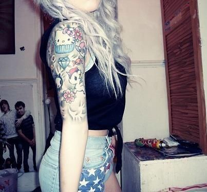 177 best images about tattoo ideas on pinterest country for Hello kitty tattoo sleeve