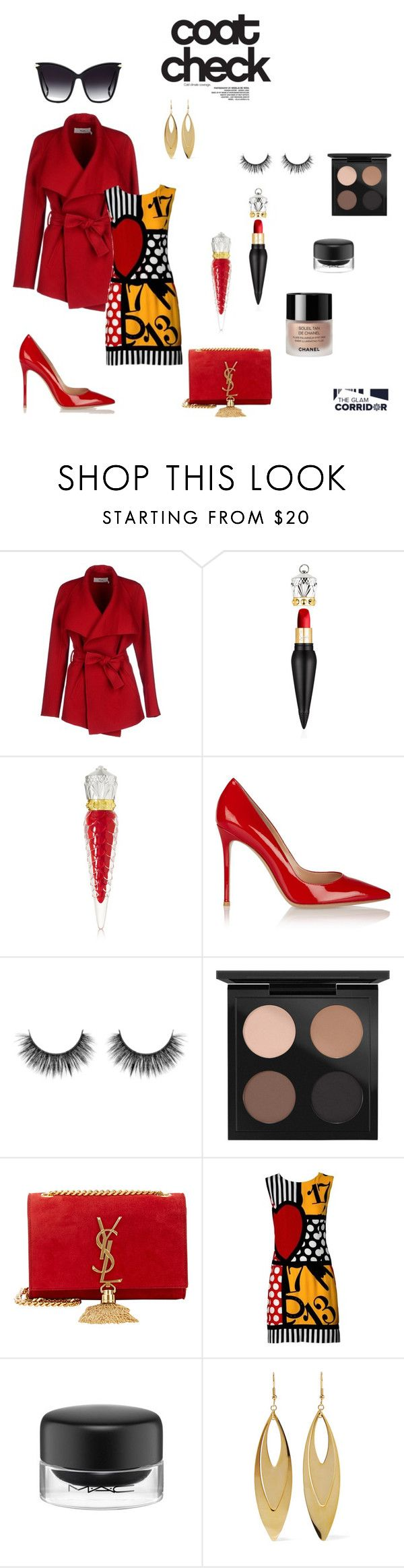 """""""Painting the town red"""" by theglamcorridor ❤ liked on Polyvore featuring BGN, Christian Louboutin, Gianvito Rossi, MAC Cosmetics, Yves Saint Laurent, Moschino, Chanel, Kenneth Jay Lane and Dita"""