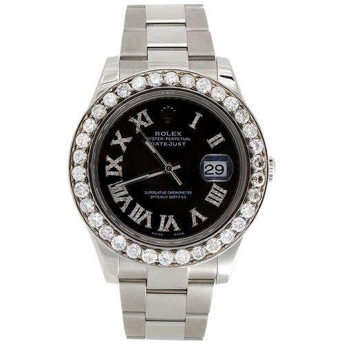 Mens 41mm 116300 Rolex DateJust II Steel Diamond Watch Black Roman Dial 5.50 CT