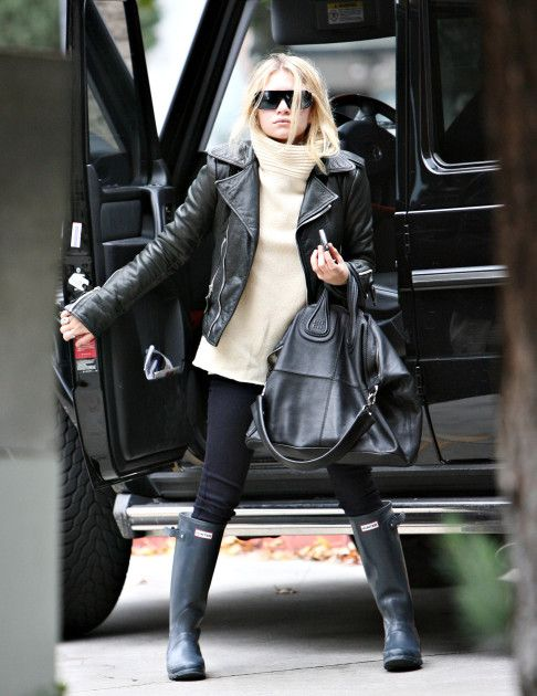 Ashley Olsen - great leather jacket + Givenchy bag