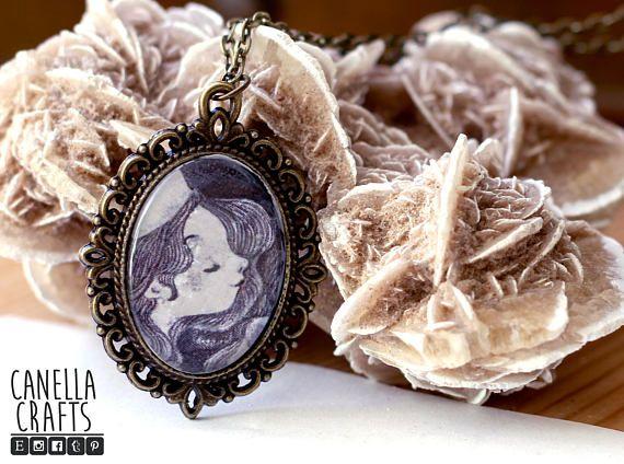 Fairy good mother vintage cameo pendant illustration