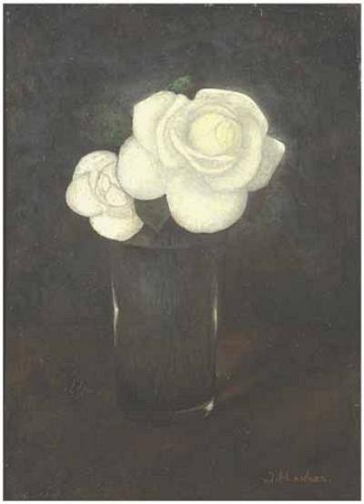 Camellias in glass by Jan Mankes Oil / canvas