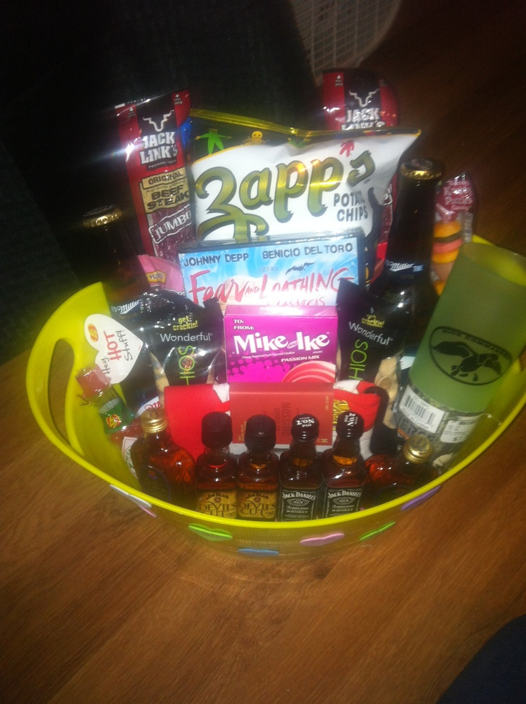 Gift Basket Idea For A Male Coworker Groomsmen Boyfriend Or Husband Alcohol And