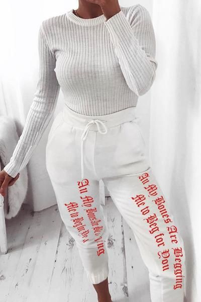 Gothic Letters High Waist White Jogger Pants