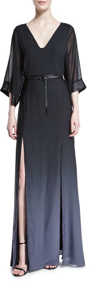 Fantasy style archetypes by Kati L Moore   Halston Heritage Half-Sleeve Belted Ombre Gown, Black/Asphalt