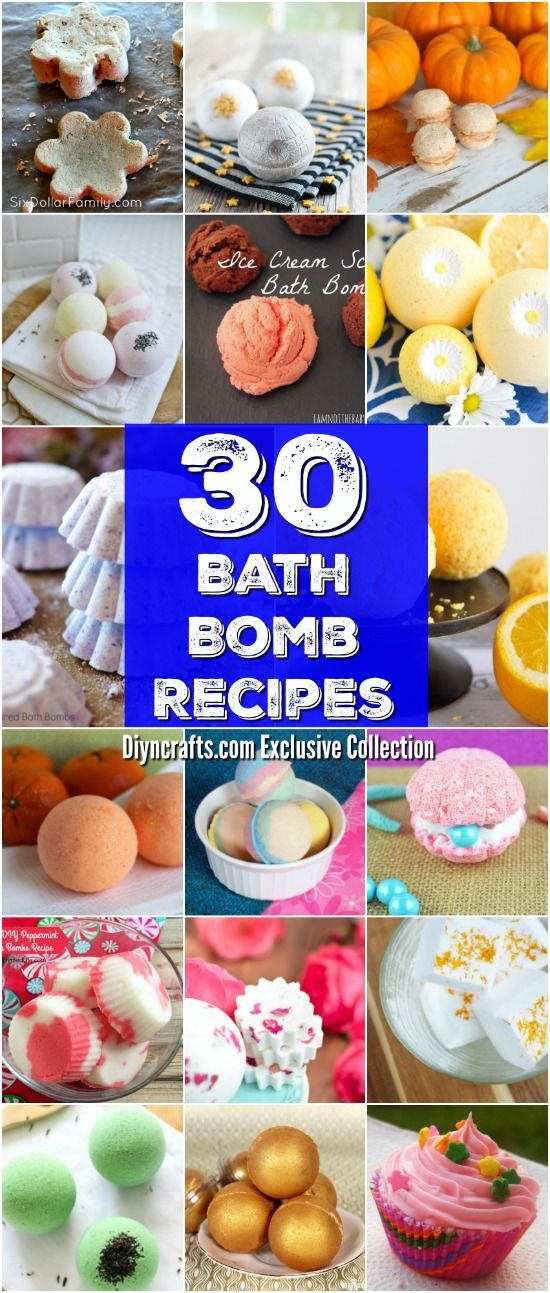 30 Easy Homemade Bath Bomb Recipes For A Relaxing Spa-Like Experience - Exclusive collection curated by diyncrafts.com team! <3 via @vanessacrafting