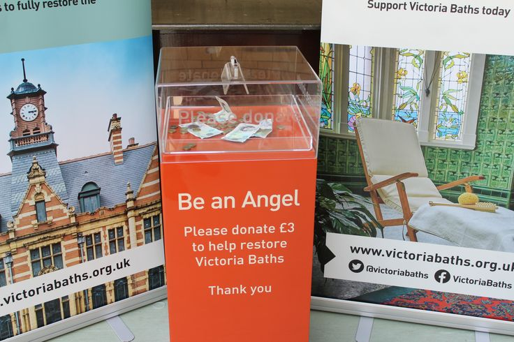 Victoria Baths Trust Manchester donations box and banners